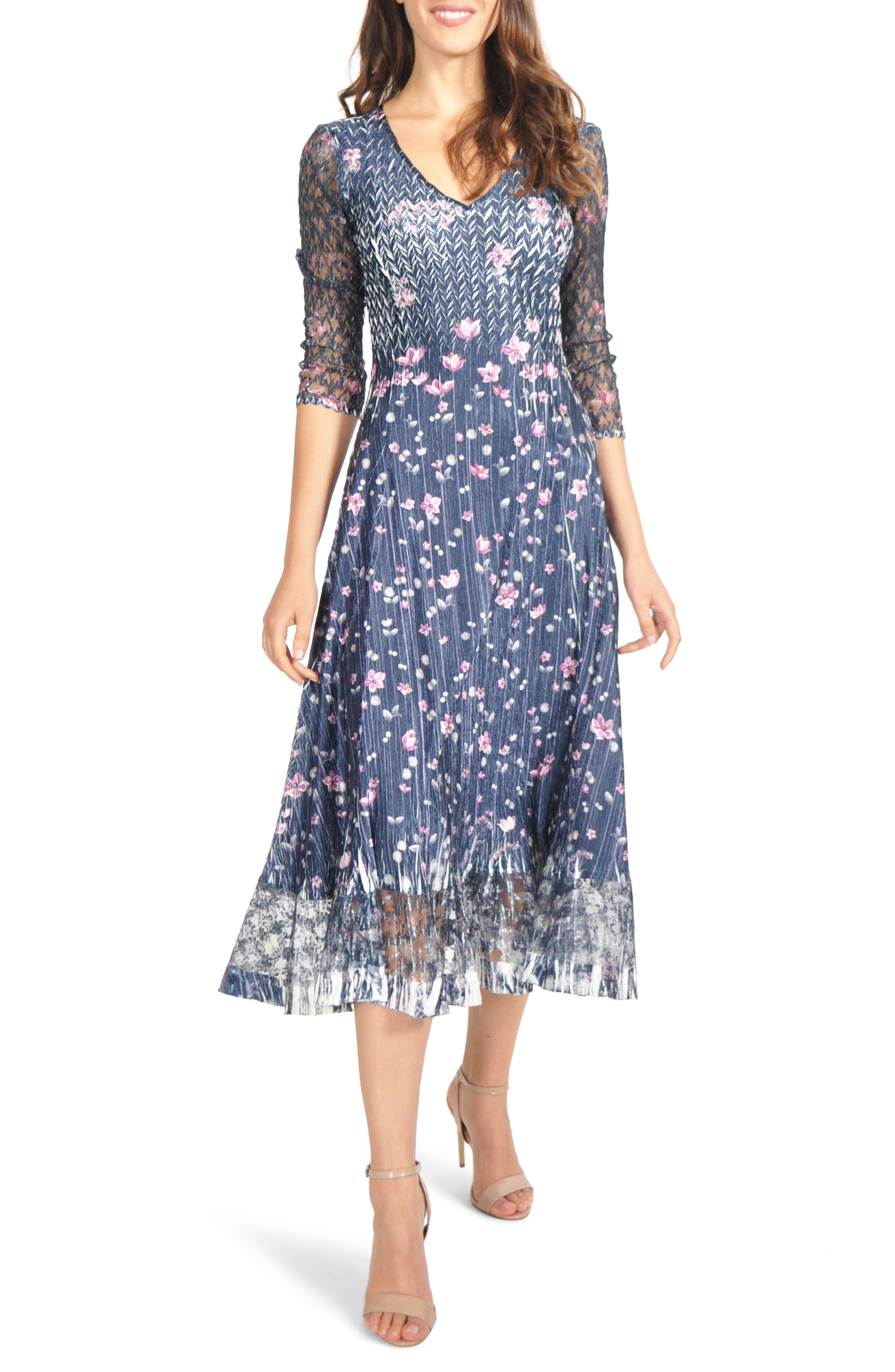 Petite Komarov Lace Sleeve Charmeuse Midi Dress, Blue