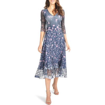 Petite Komarov Lace Sleeve Charmeuse Midi Dress, Blue