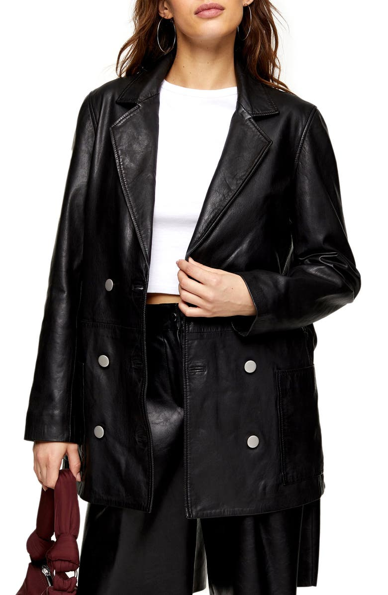 TOPSHOP Jay Double Breasted Leather Boyfriend Blazer, Main, color, BLACK