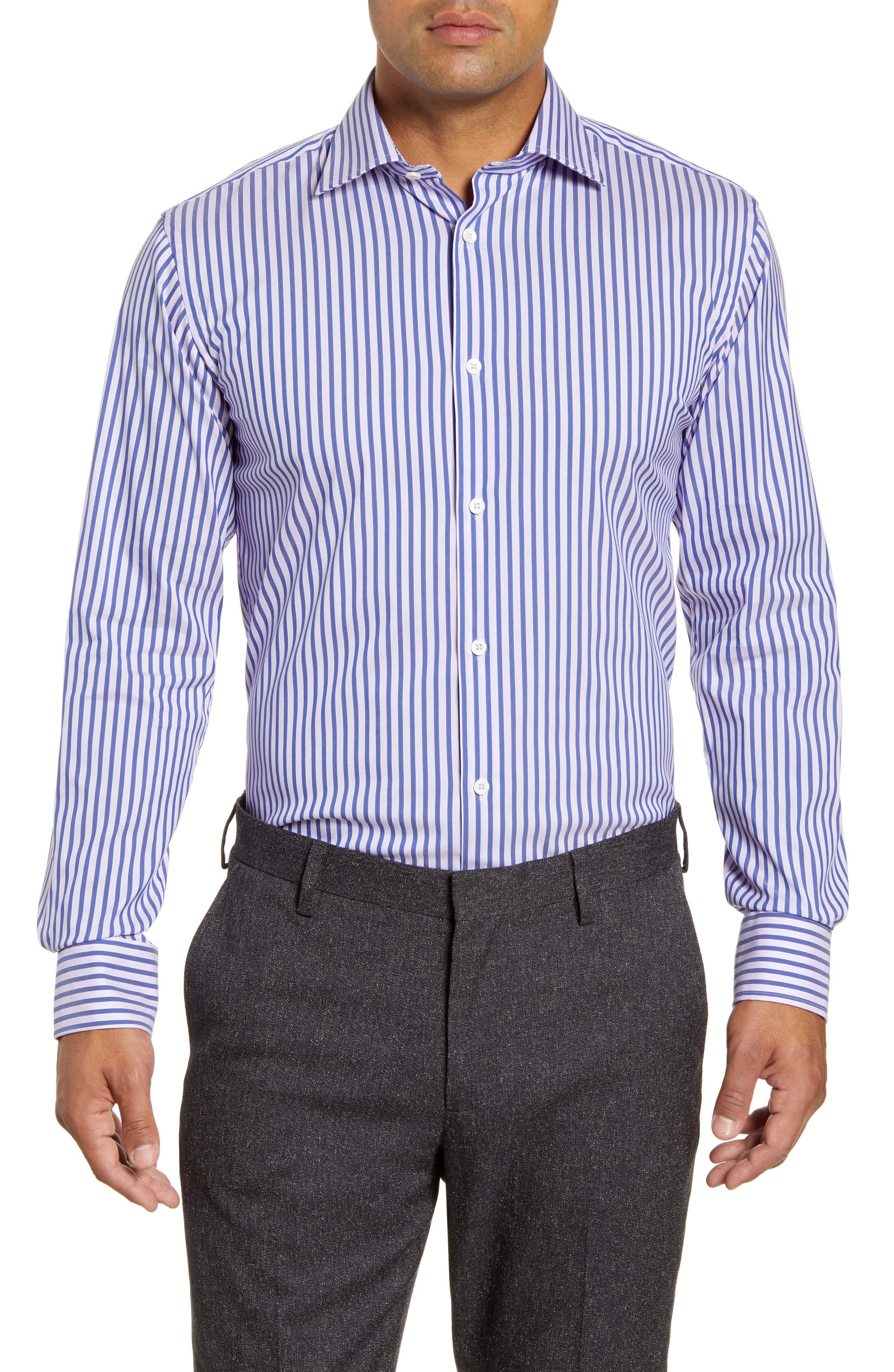 men's big & tall bugatchi trim fit stripe dress shirt, size 18 - purple
