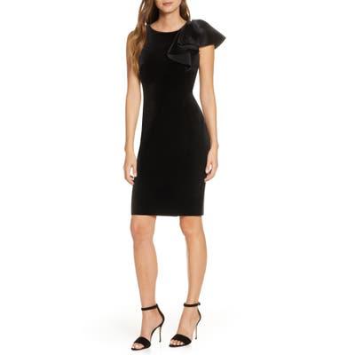 Eliza J Ruffle Shoulder Velvet Sheath Dress, Black