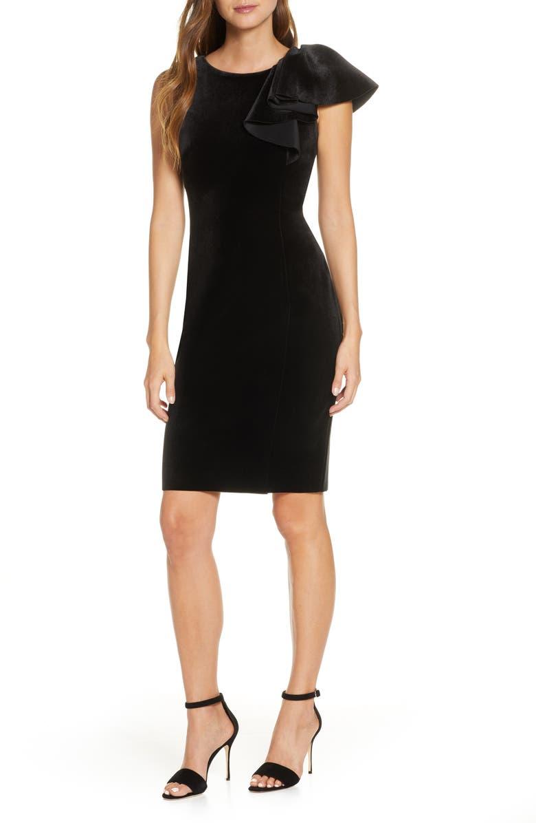 ELIZA J Ruffle Shoulder Velvet Sheath Dress, Main, color, BLACK