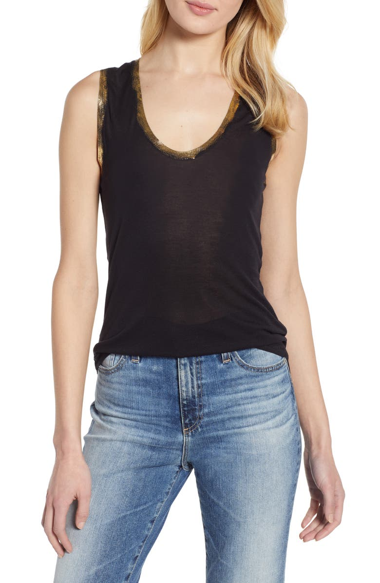 ZADIG & VOLTAIRE Tam Scoop Neck Tank, Main, color, BLACK