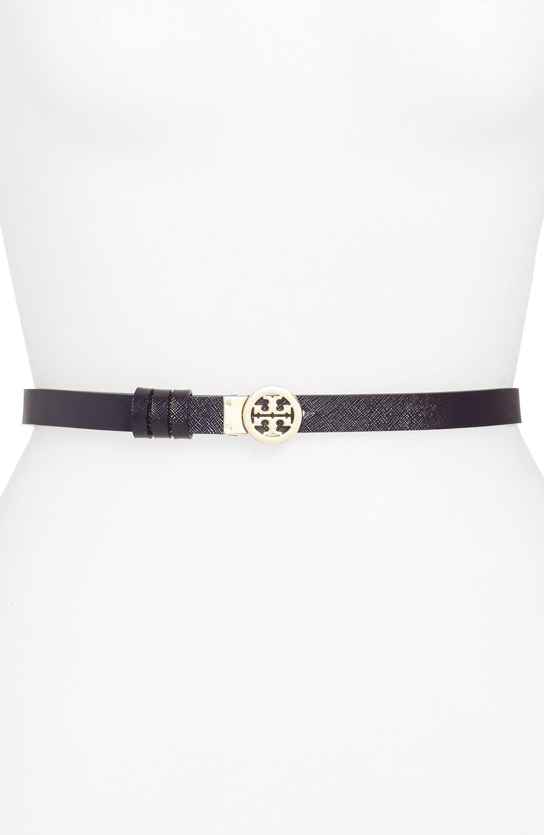 ,                             Rotating Logo Skinny Leather Belt,                             Alternate thumbnail 2, color,                             024