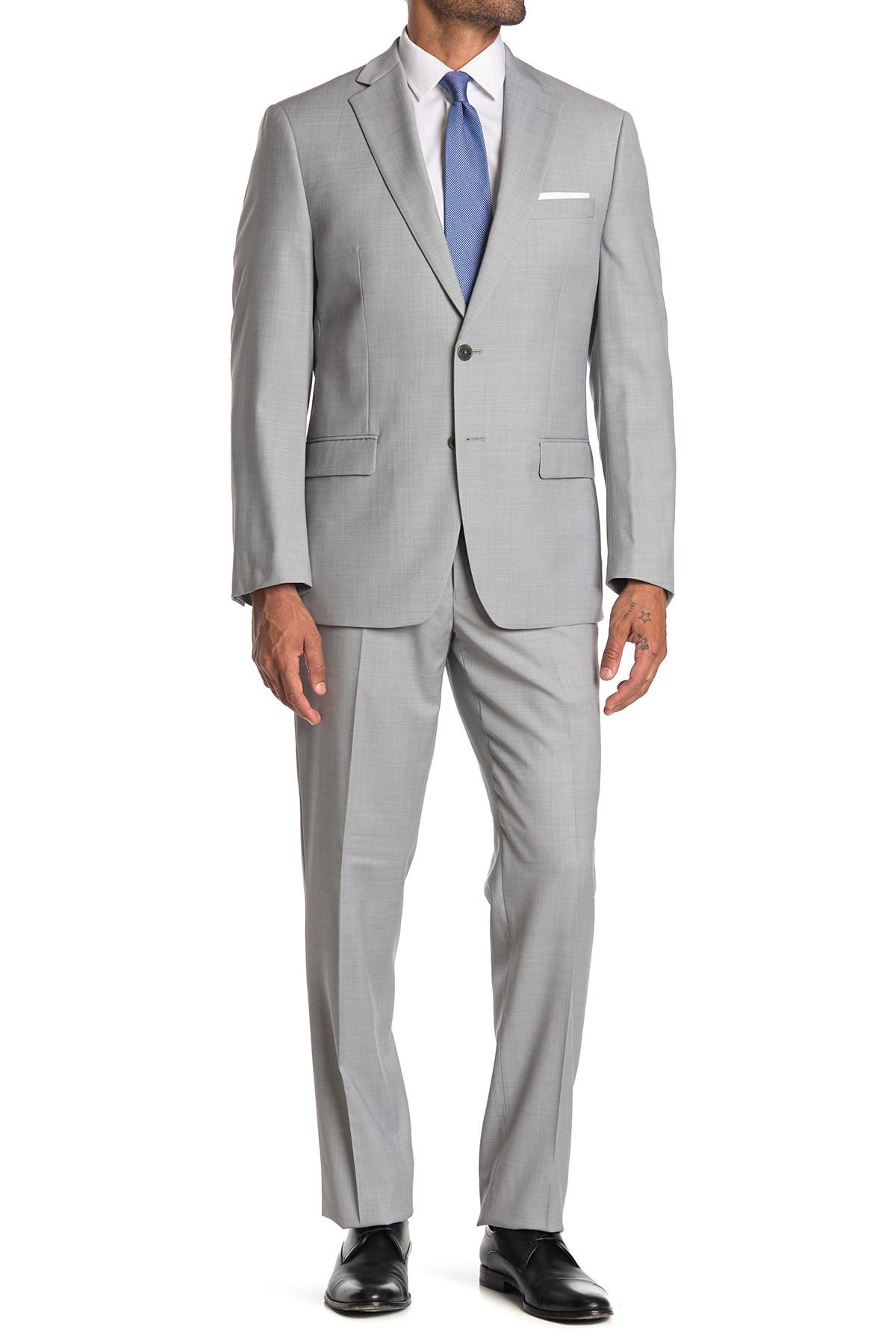 Image of Calvin Klein Light Grey Shark Skin Wool Two Button Notch Lapel Suit