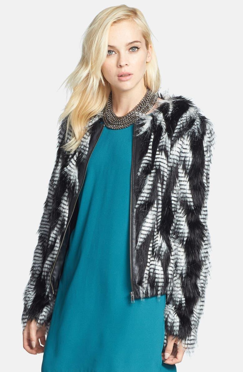 LEITH Faux Fur Jacket, Main, color, 001