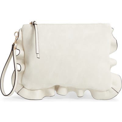 Sole Society Adelina Faux Leather Ruffle Clutch - Ivory
