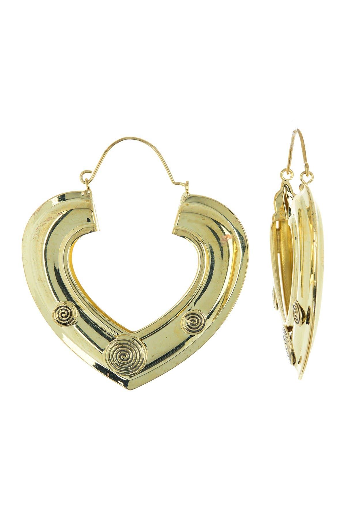 Image of AREA STARS Burnished Swirl Heart Open Hoop Earrings
