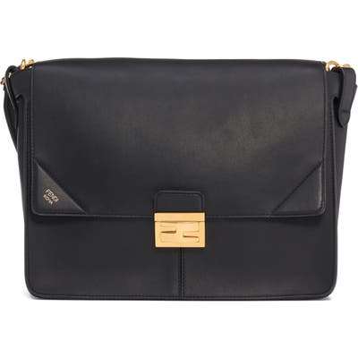 Fendi Large Kan I Leather Shoulder Bag - Black