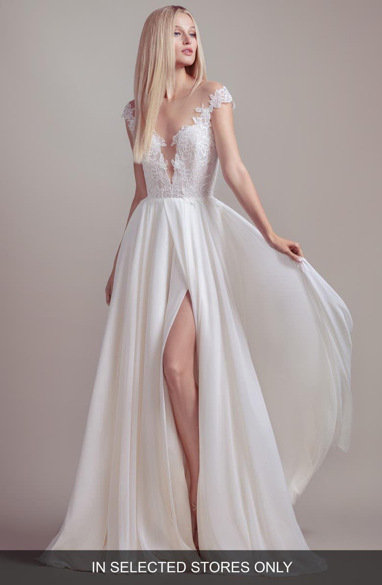 BLUSH BY HAYLEY PAIGE Soleil Lace Bodice Off the Shoulder Wedding Dress, Main, color, IVORY