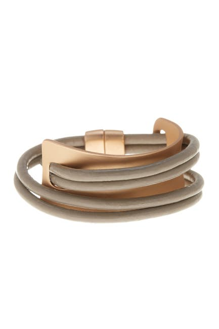 Image of Saachi Taupe Gladiator Wrap Leather Bracelet