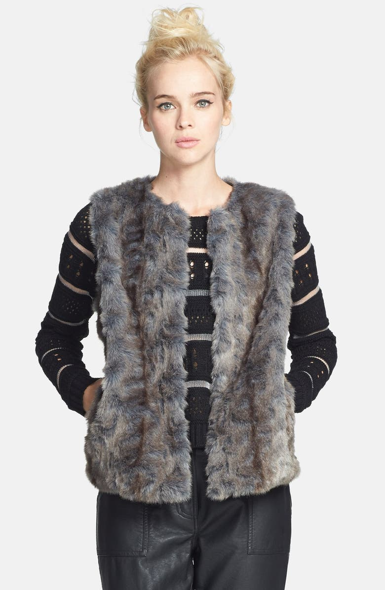 TOPSHOP Faux Fur Vest, Main, color, 020