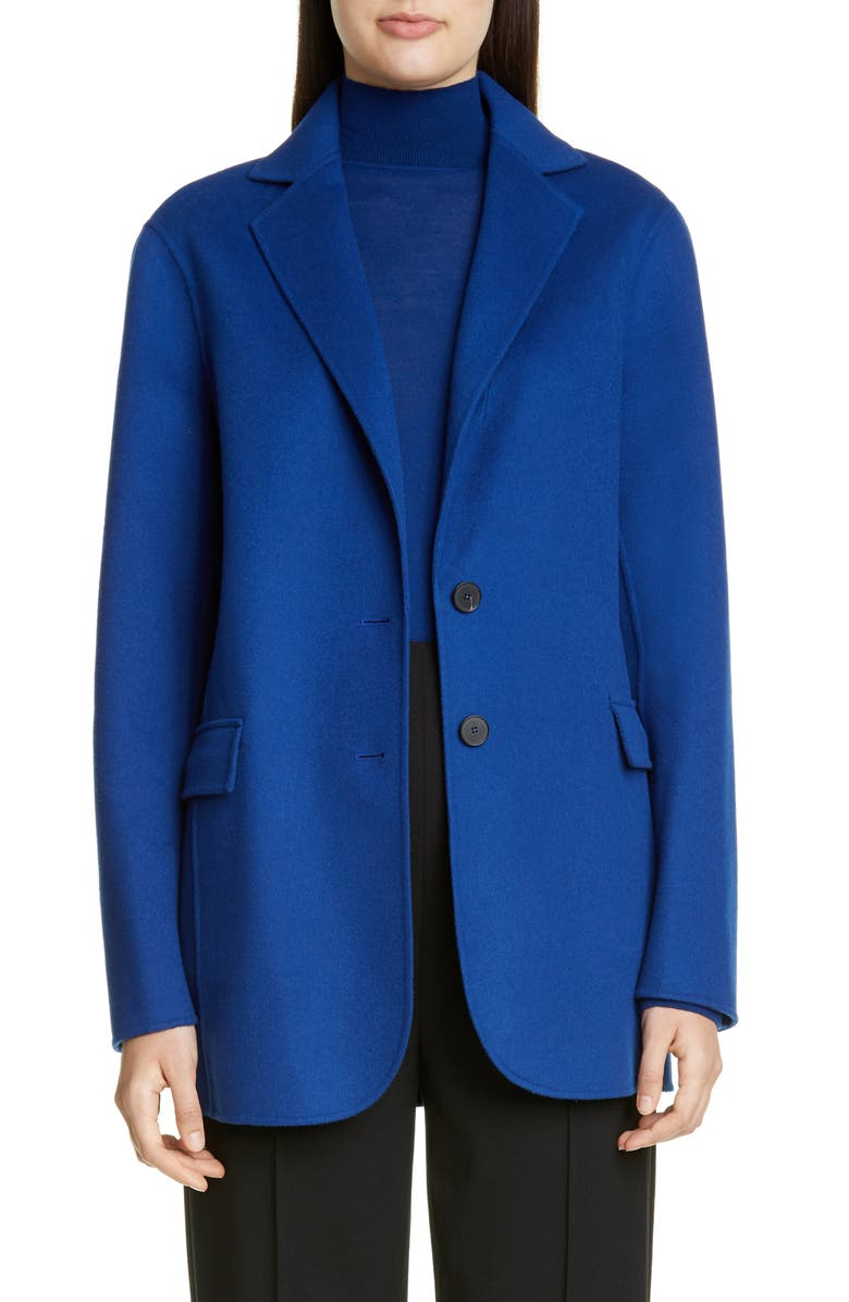 ST. JOHN COLLECTION Luxe Wool & Cashmere Double Face Jacket, Main, color, PRUSSIAN BLUE