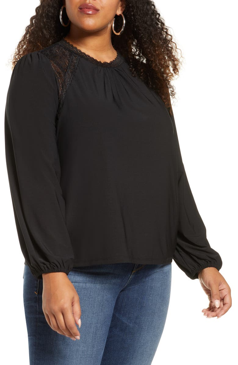 HALOGEN<SUP>®</SUP> Lace Yoke Knit Top, Main, color, BLACK