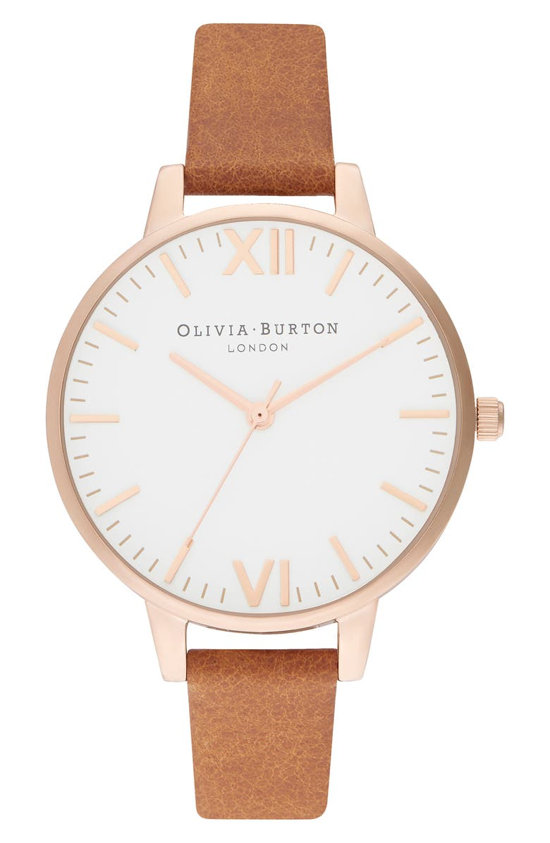 OLIVIA BURTON Timeless Leather Strap Watch, 34mm, Main, color, HONEY TAN/ WHITE/ ROSE GOLD