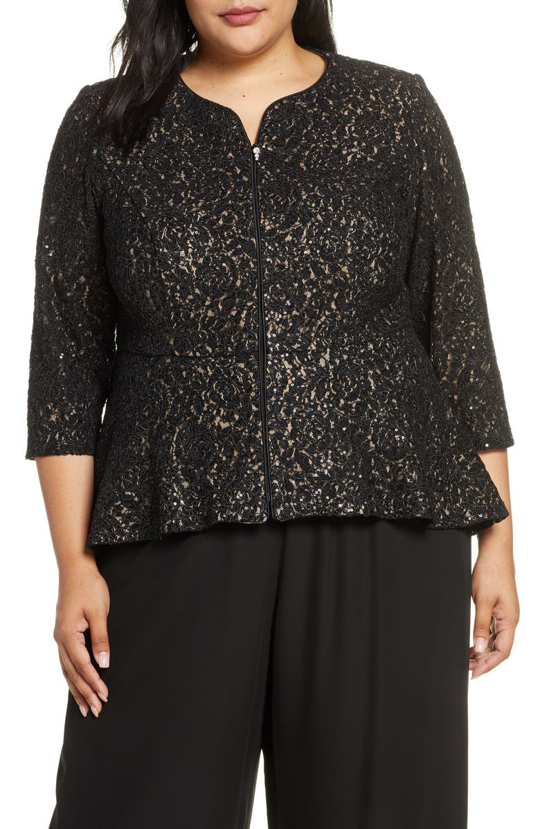 ALEX EVENINGS Corded Lace Jacket, Main, color, BLACK/ NUDE