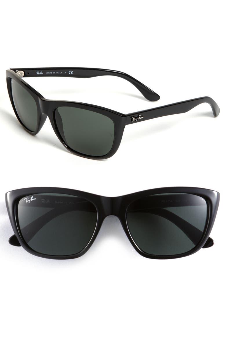 RAY-BAN 57mm Cat's Eye Sunglasses, Main, color, 001