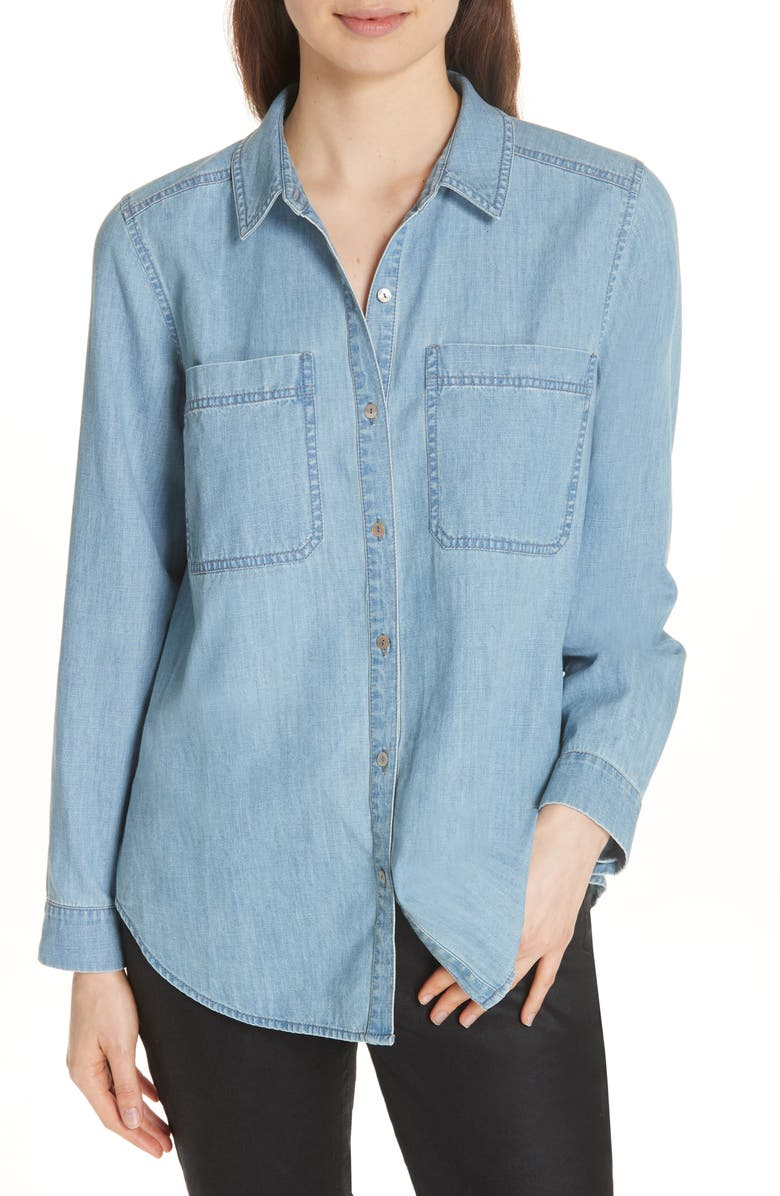 EILEEN FISHER Organic Cotton Chambray Shirt, Main, color, BLUE STAR