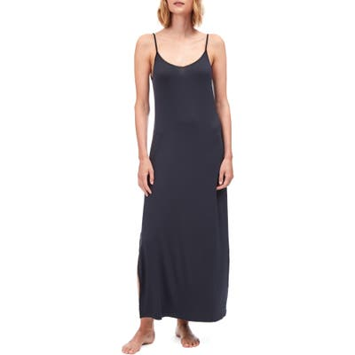 The White Company Lace Trim Long Nightgown, Blue