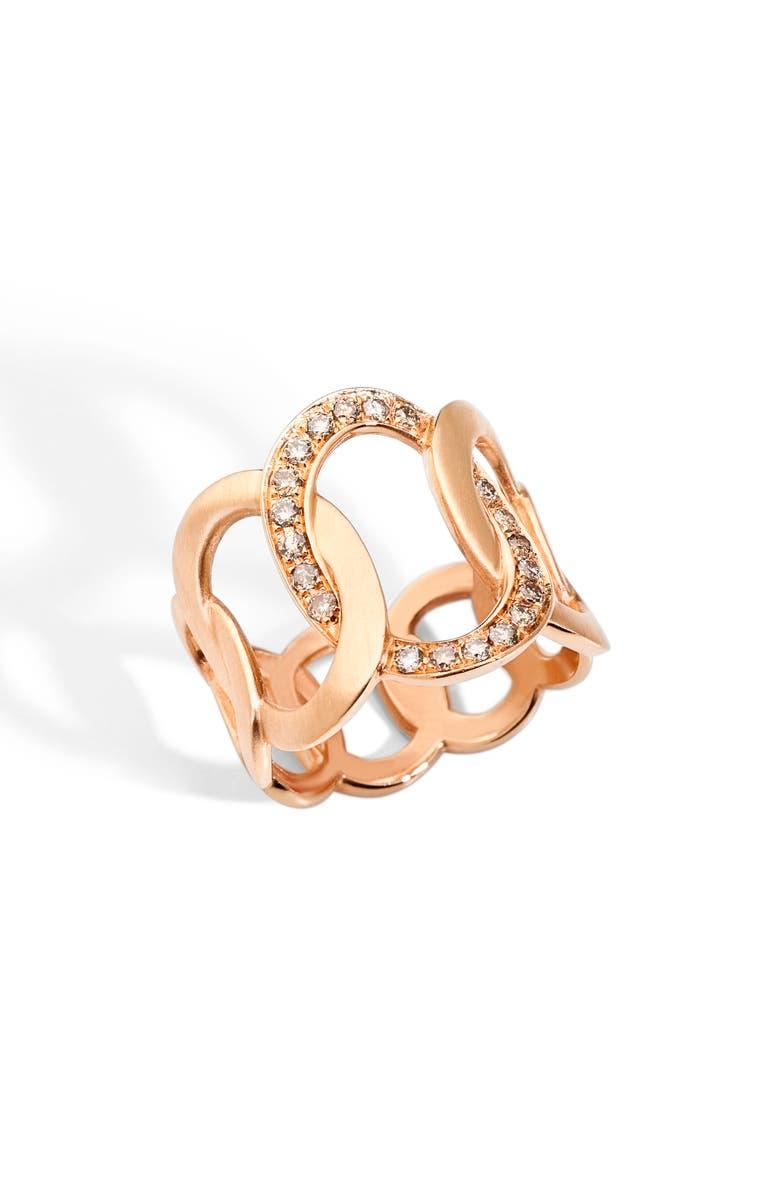 POMELLATO Brera Ring, Main, color, ROSE GOLD/ BROWN DIAMOND