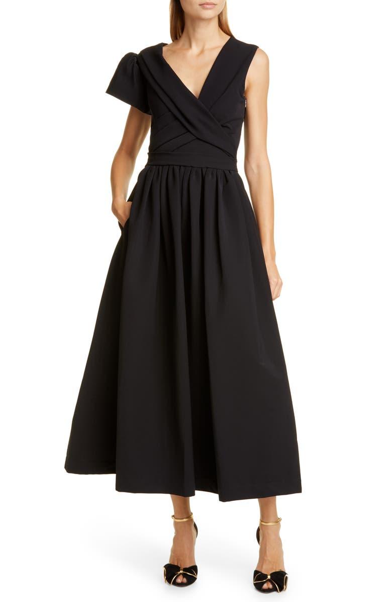 PREEN BY THORNTON BREGAZZI Asymmetrical Sleeve Cocktail Dress, Main, color, BLACK
