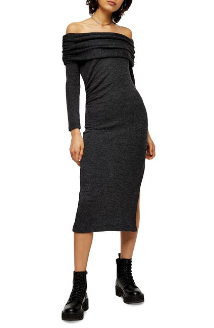 Image of TOPSHOP Off The Shoulder Midi Sweater Dress