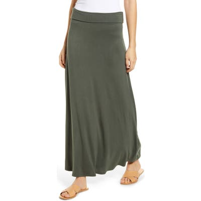 Loveappella Roll Top Maxi Skirt, Green