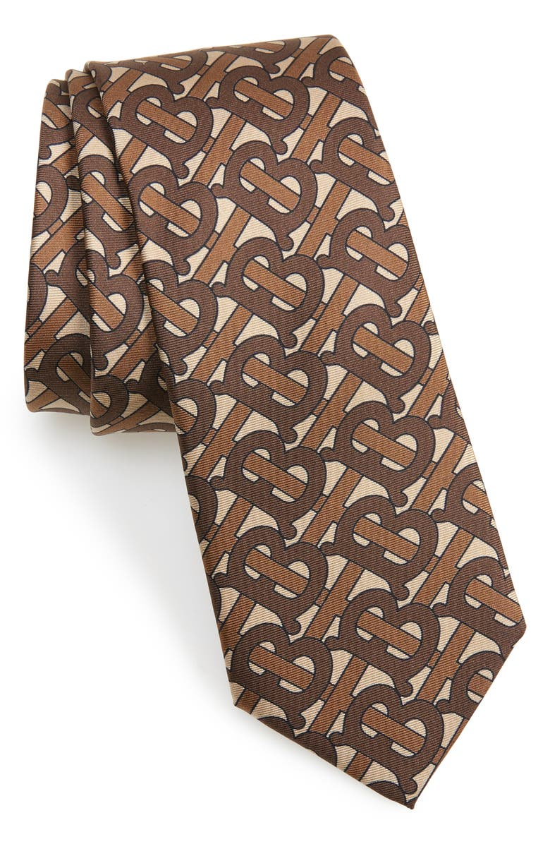 BURBERRY Manston Monogram Silk Tie, Main, color, BRIDLE BROWN