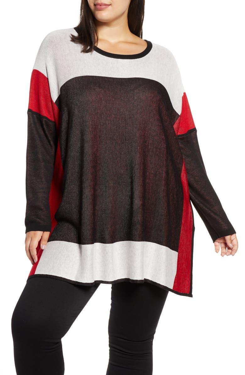 SINGLE THREAD Colorblock Tunic Sweater, Main, color, BLK/ WHT/ RED