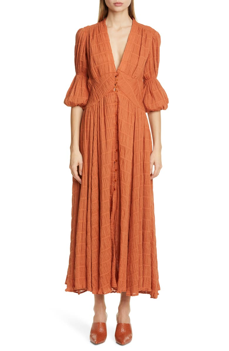 CULT GAIA Willow Eyelet Maxi Dress, Main, color, SPICE