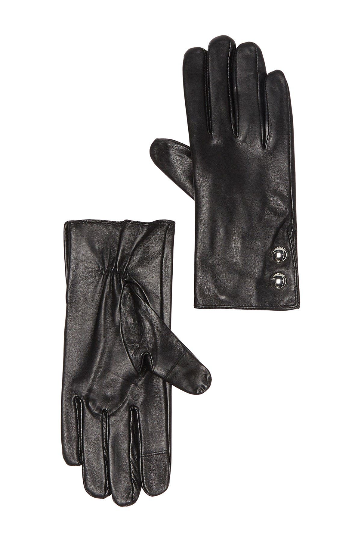 Image of Michael Kors Leather Logo Dome Button Gloves