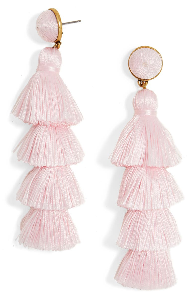 BAUBLEBAR Gabriela Tassel Fringe Earrings, Main, color, LIGHT PINK