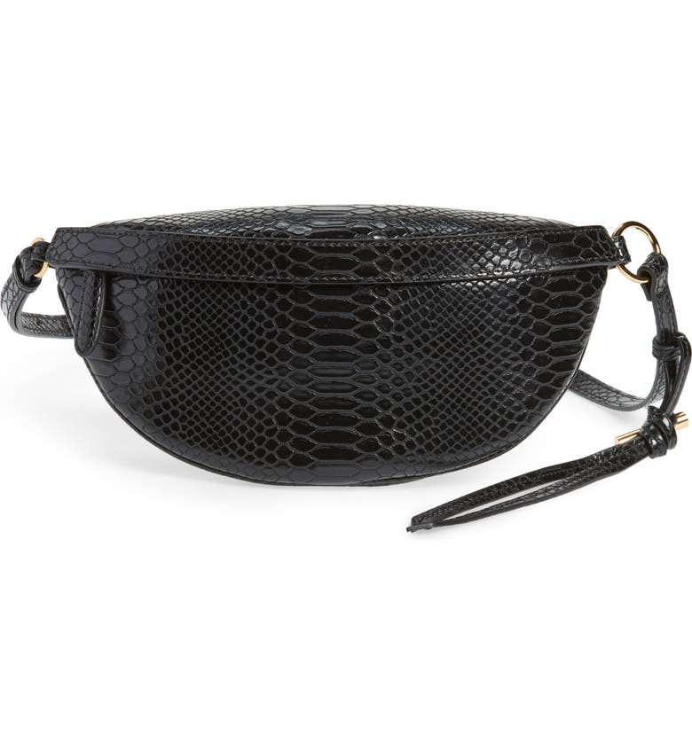 STELLA MCCARTNEY Alter Snake Faux Leather Fanny Pack, Main, color, 001