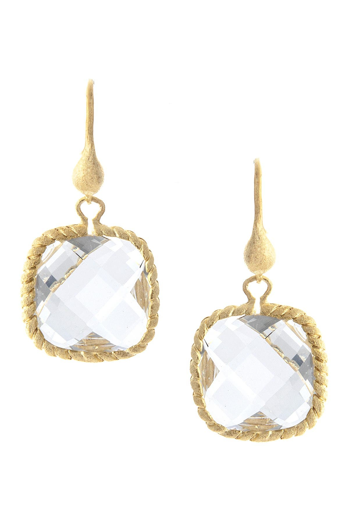 Image of Rivka Friedman 18K Gold Clad Faceted Rock Crystal Satin Twisted Cable Dangle Earrings