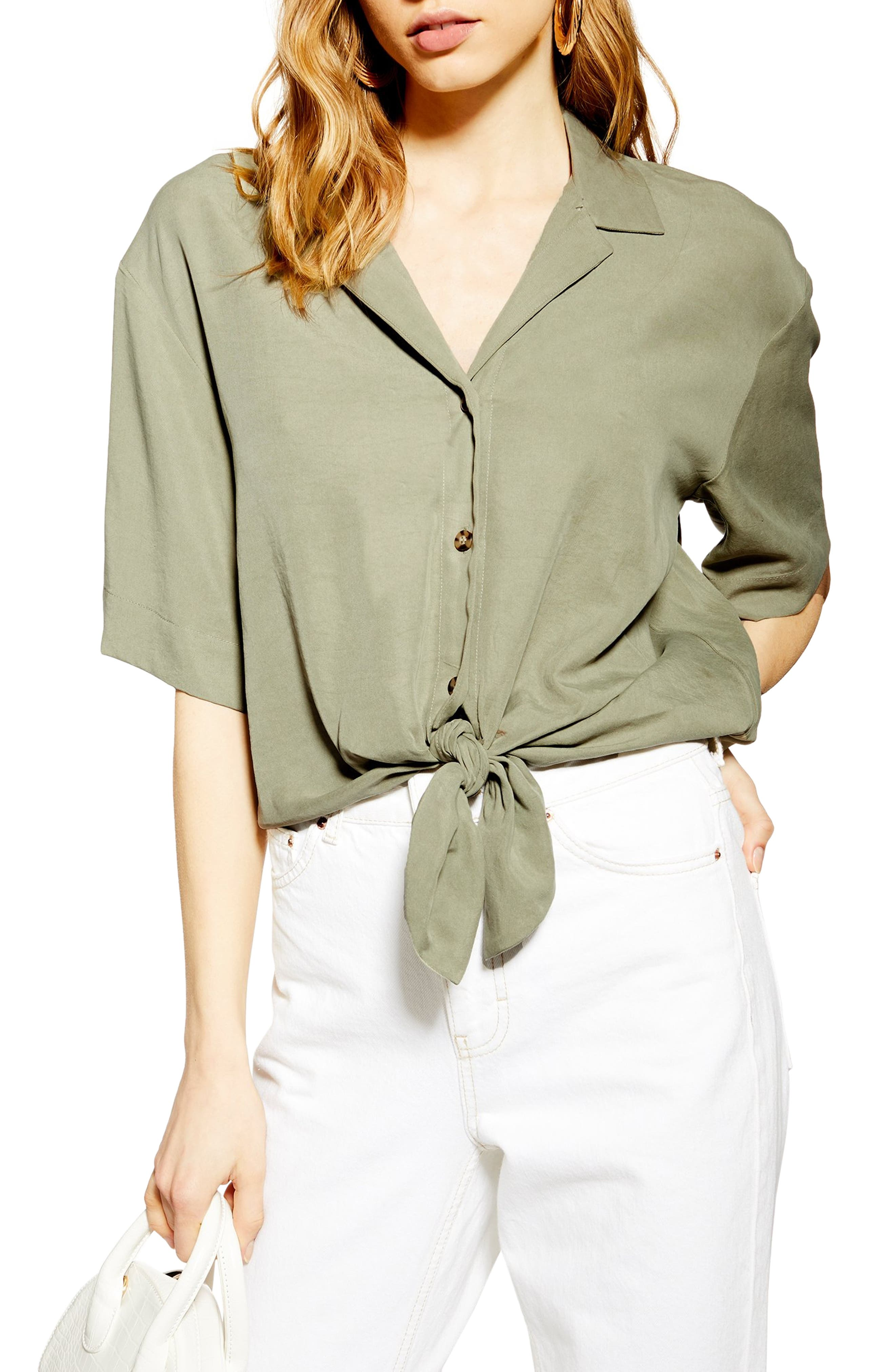 Dani Knot Front Top, Main, color, OLIVE