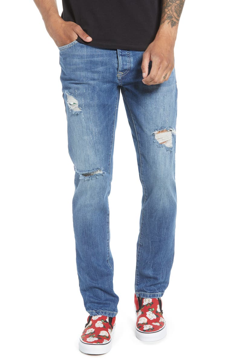 TOPMAN Slim Fit Ripped Marbled Jeans, Main, color, BLUE