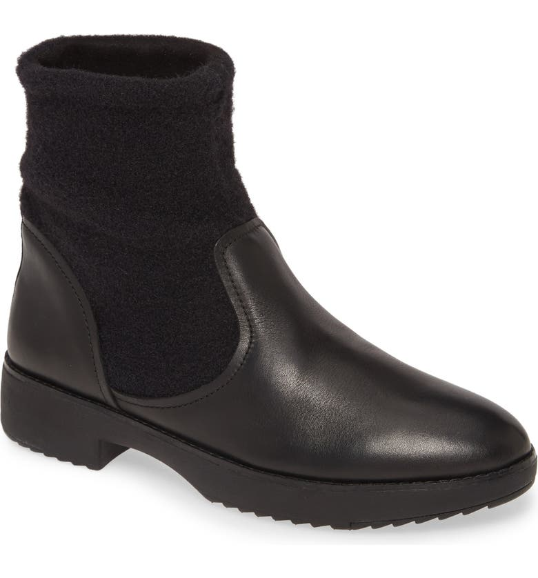 FITFLOP Nisse Mixed Media Bootie, Main, color, ALL BLACK LEATHER/ WOOL