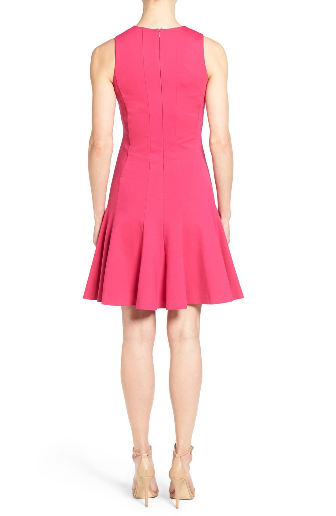 ,                             Sleeveless Seam Detail Fit & Flare Dress,                             Alternate thumbnail 7, color,                             685