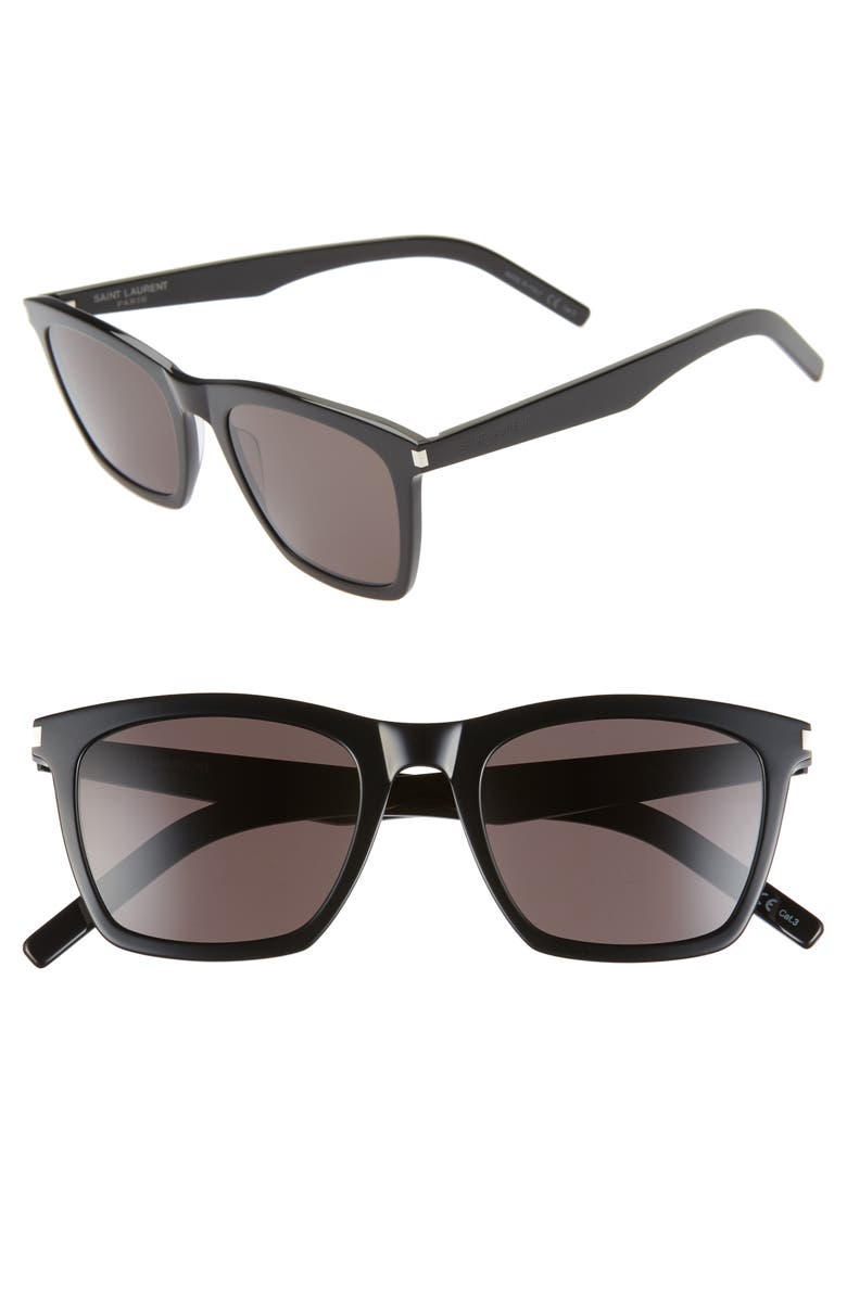 SAINT LAURENT Slim 52mm Sunglasses, Main, color, SHINY BLACK