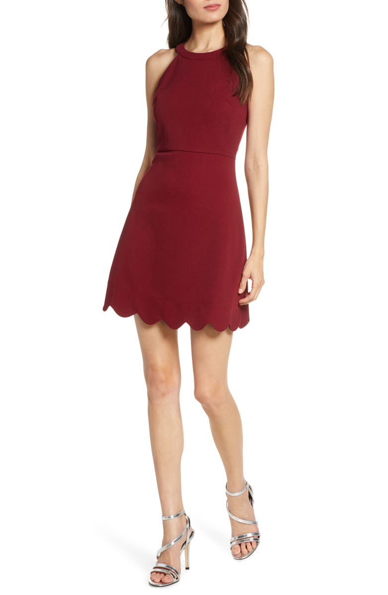 LULUS Mamacita Halter Minidress, Main, color, BURGUNDY