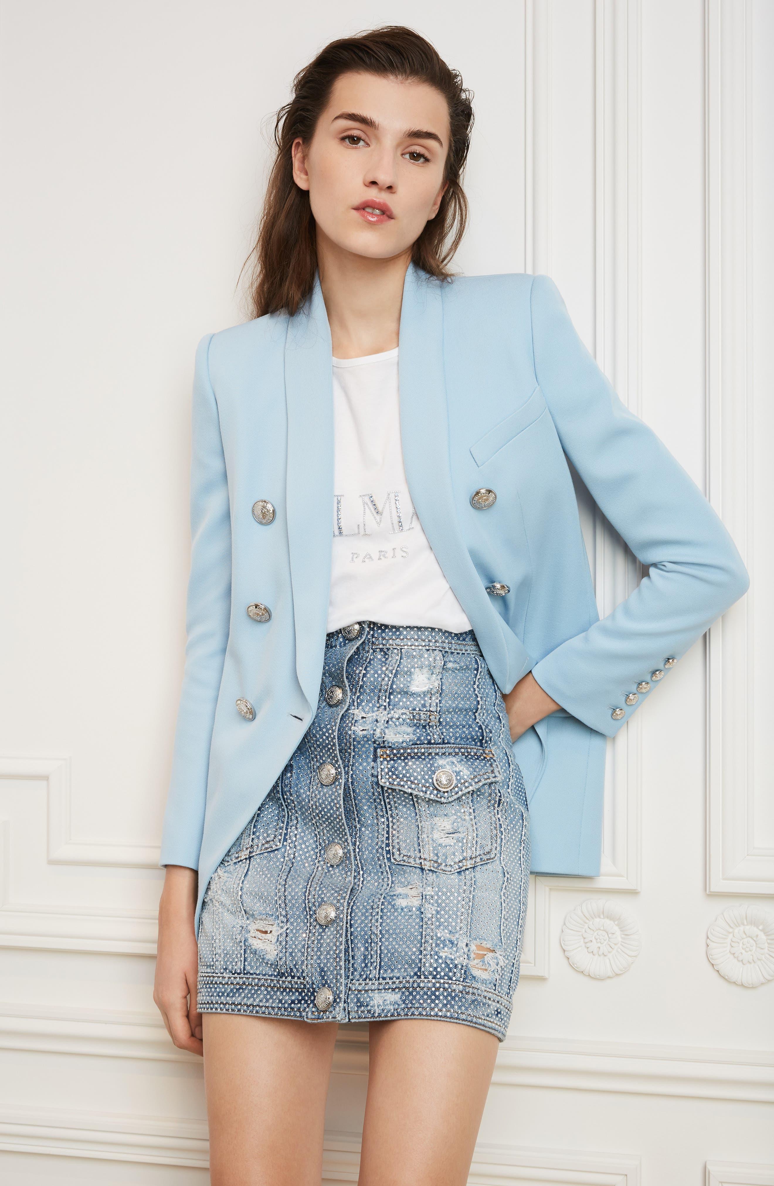 ,                             Crystal Studded Denim Skirt,                             Alternate thumbnail 7, color,                             SAD BLEU/ ARGENT