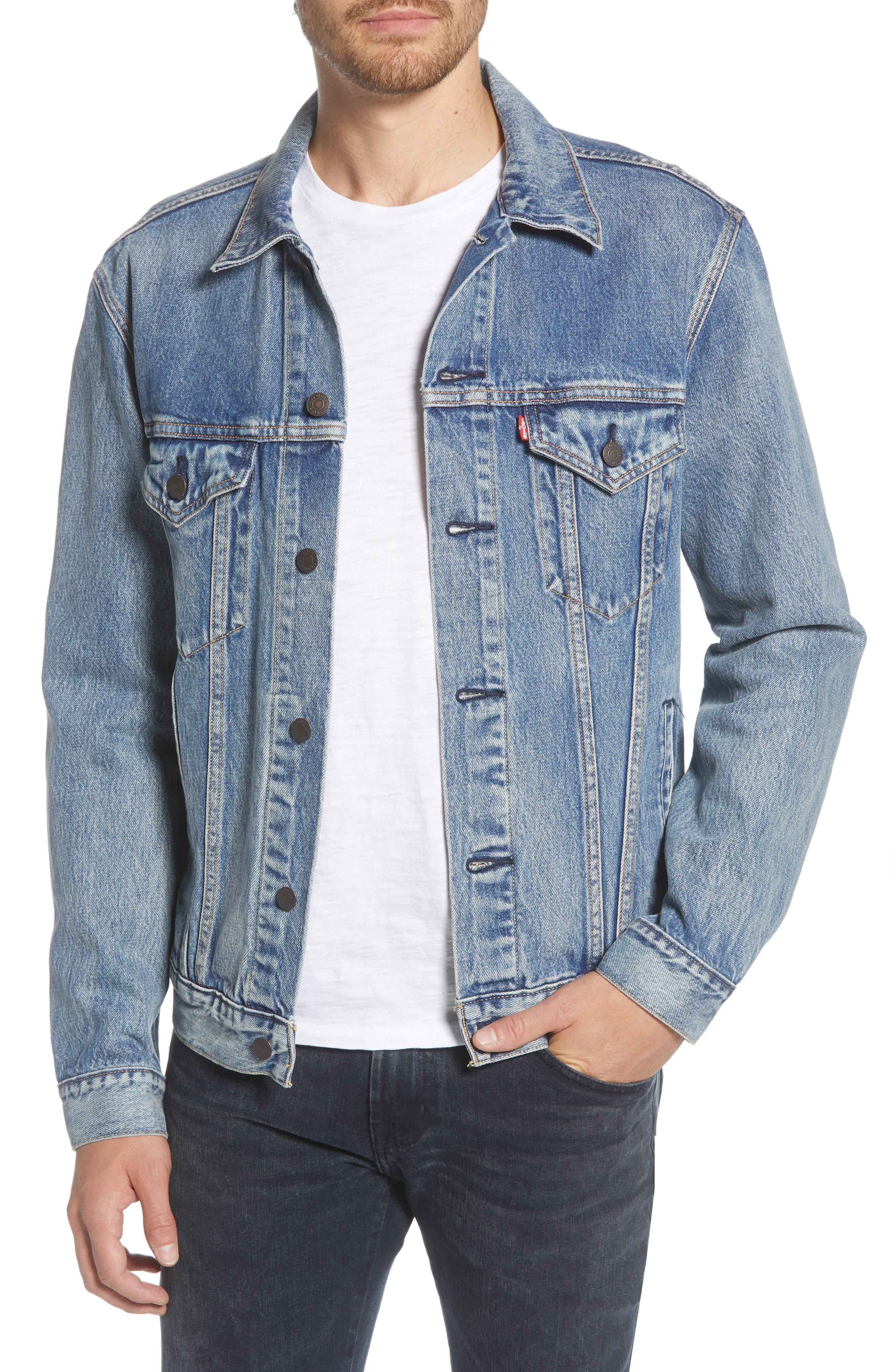 70s Jackets, Furs, Vests, Ponchos Mens Levis Vintage Fit Denim Trucker Jacket $41.18 AT vintagedancer.com