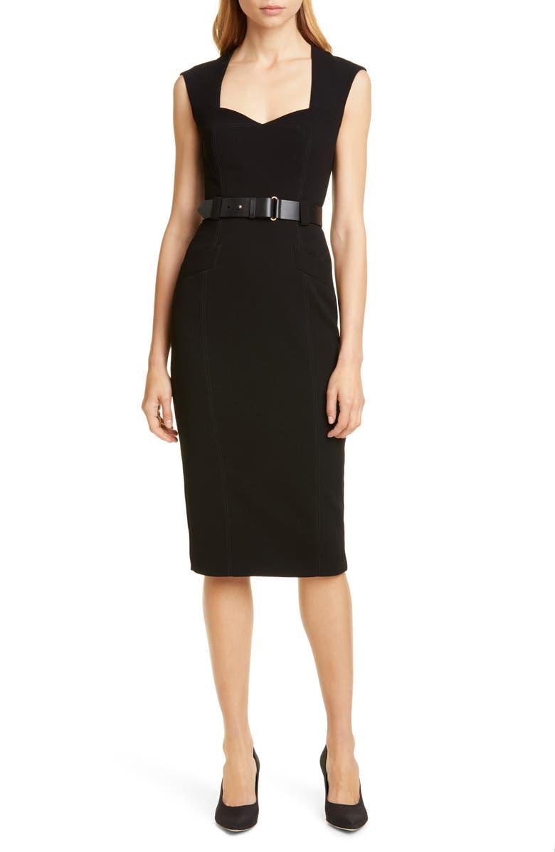 KAREN MILLEN Elongated Investment Belted Dress, Main, color, 001