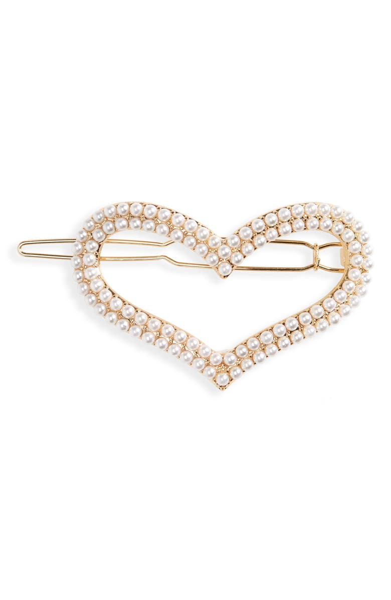 BP. Imitation Pearl Heart Hairpin Barrette, Main, color, IVORY