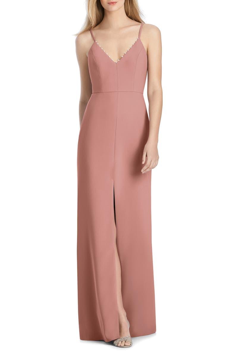 LELA ROSE BRIDESMAID V-Neck Crepe Mermaid Gown, Main, color, DESERT ROSE