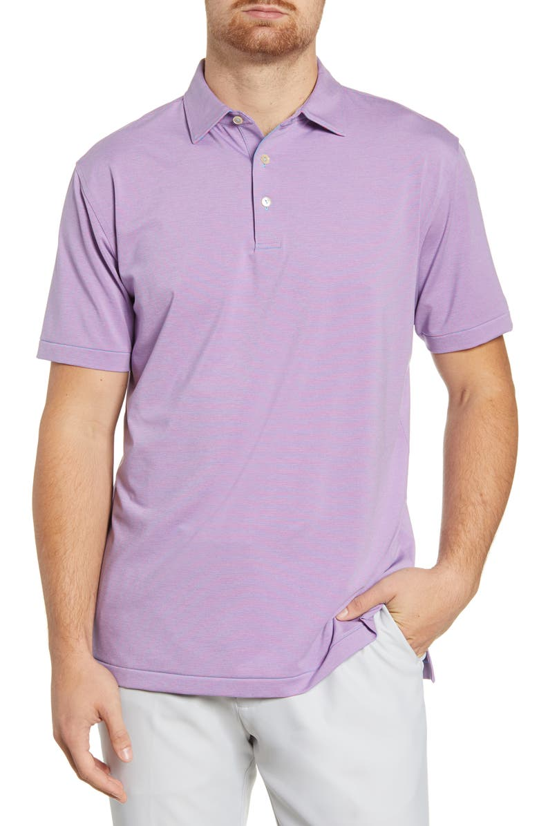 PETER MILLAR Jubilee Stripe Performance Polo, Main, color, RIVERBED/ PINK ROSE