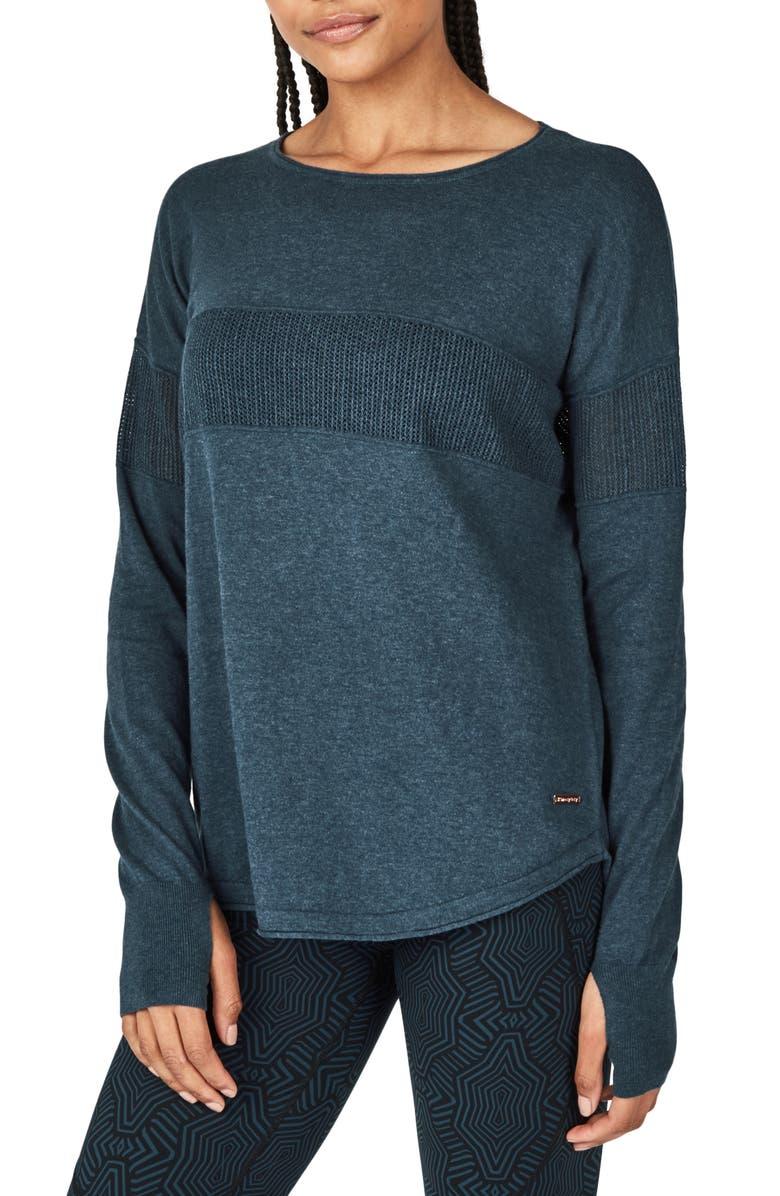 SWEATY BETTY Position Sweater, Main, color, BEETLE BLUE MARL