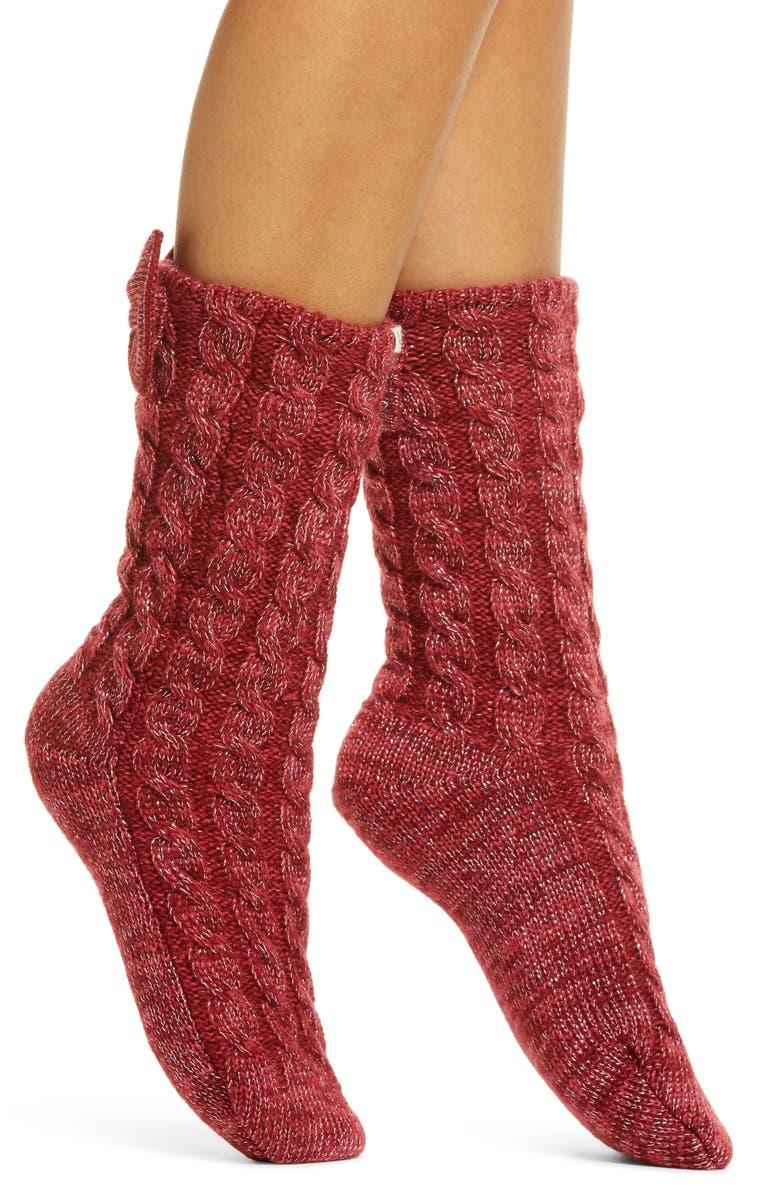 UGG<SUP>®</SUP> Laila Bow Fleece Lined Socks, Main, color, KISS / SILVER