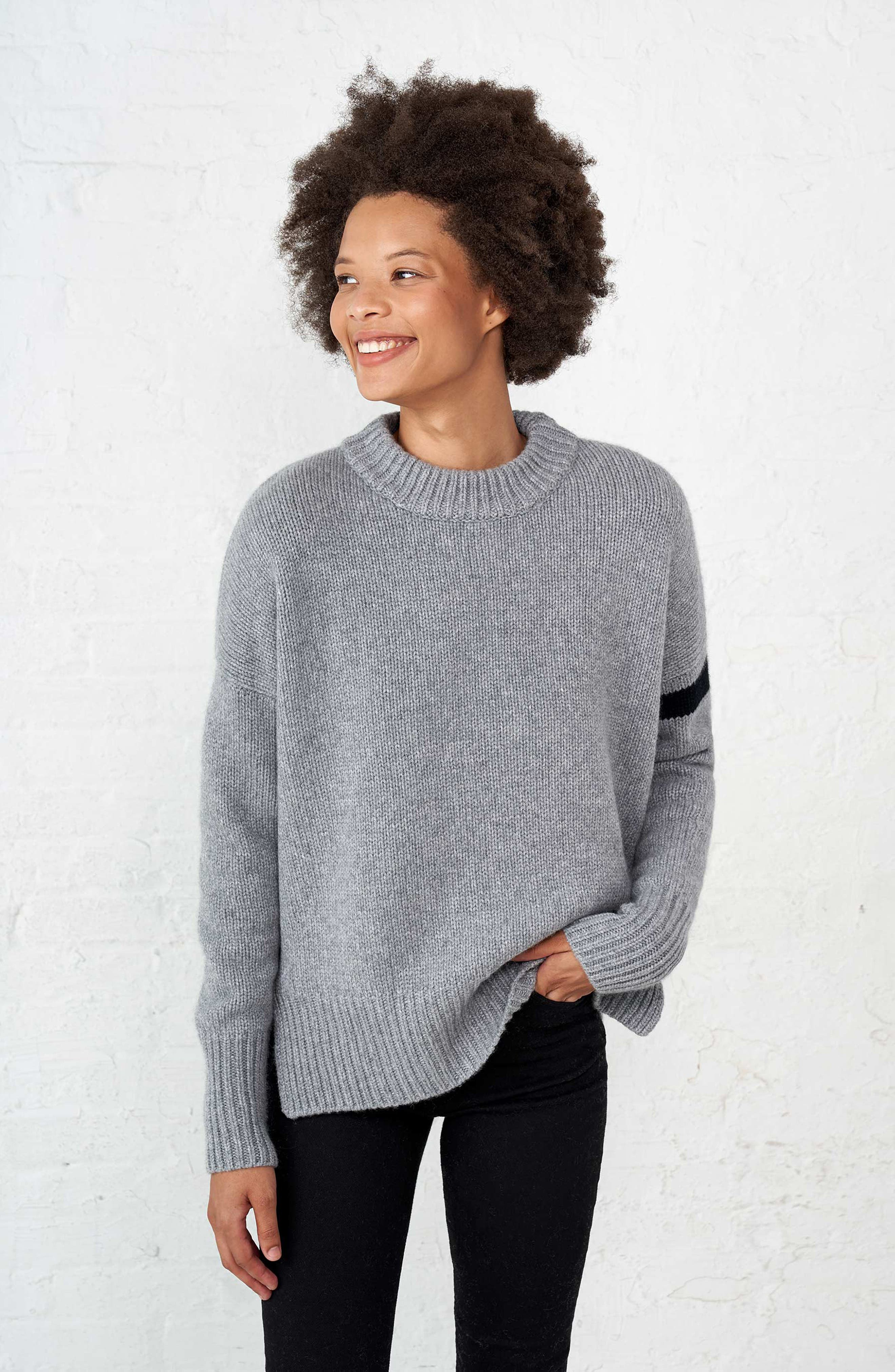 ,                             Varsity Cashmere Sweater,                             Alternate thumbnail 7, color,                             GREY MARLE/ BLACK