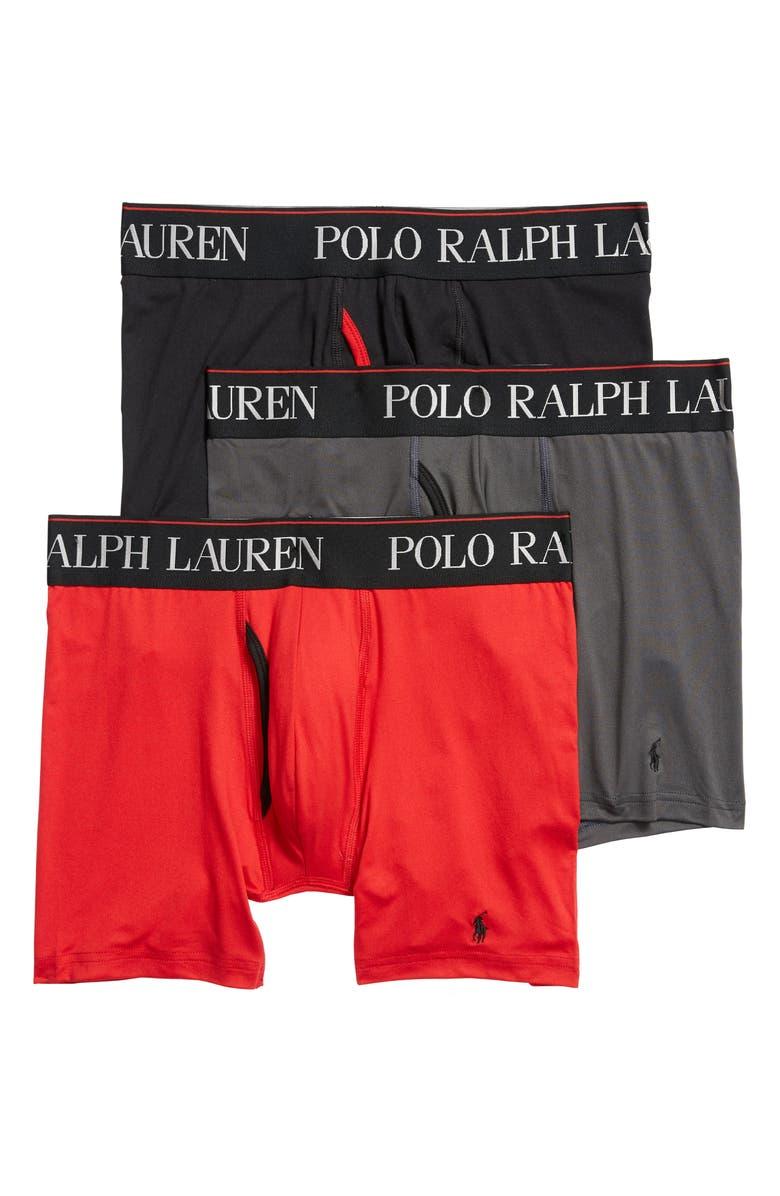 POLO RALPH LAUREN 4D 3-Pack Boxer Briefs, Main, color, CHARCOAL/ RED/ BLACK